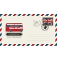 envelope with postage stamp with doubledecker vector image vector image