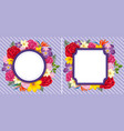 flower frames on purple background vector image vector image