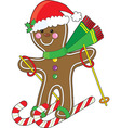 gingerbread skier vector image vector image