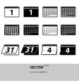 gray set calendar icons isolated on background mo vector image vector image