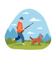 grey male elderly character with gun and dog vector image vector image