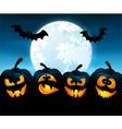 Halloween night with pumpkins vector image vector image