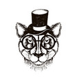 hipster leopard muzzle wearing top hat and vector image vector image