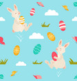 holiday bright pattern with cute easter rabbits vector image