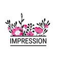 impression floral border with inscription vector image