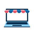 laptop computer with ecommerce tent vector image vector image
