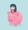 little girl riding piggy bank vector image
