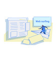 man flying on paper plane to website page browser vector image vector image