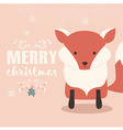 Merry Christmas postcard with cute orange fox vector image vector image