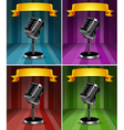 Microphones in four background colors vector image vector image