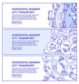 monochrome city transport horizontal banners vector image vector image