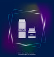 neon light icon package milk set two vector image vector image