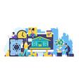 online banking concept trendy cartoon characters vector image