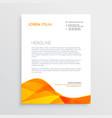 orange business letterhead design template vector image vector image