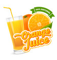 orange juice label vector image