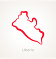 outline map of liberia marked with red line vector image vector image