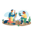 people gardening planting flowers collect harvest vector image vector image