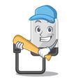 playing baseball hard drive in shape of mascot vector image vector image