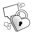 pop art padlock heart shape in black and white vector image vector image