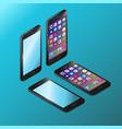 realistic black smartphone in isometry vector image