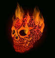 red flaming skull vector image vector image