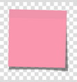 rosy paper sticky note glued to surface vector image vector image