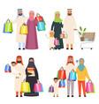 saudi family market arabic male and female vector image