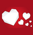set craft white paper folded heart on red b vector image