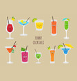set funny cocktails colorful drinks in vector image