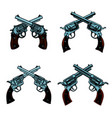set of crossed revolvers on white background vector image vector image