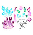 Set of crystals and gems