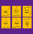 set of devil faces on yellow halloween card vector image vector image