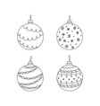 set of hand drawn christmas ball toy christmas vector image vector image