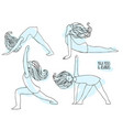 set of yoga poses with cute girl poses and asanas vector image vector image
