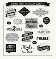 set thank you card design elements vector image