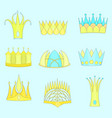 set with diverse outlined fantasy flat crowns vector image