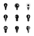 smart bulb icons set simple style vector image vector image
