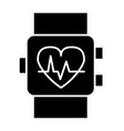 smart watch solid icon wrist pulse indicator vector image