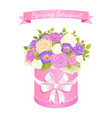 spring bouquet with rose and peony flowers leaves vector image vector image