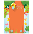 Spring Season Background with Bird and Big Tree vector image vector image