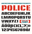 Stencil plate font in military style vector image vector image