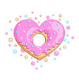 sweet donut heart vector image vector image