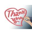 Thank you sign woman hand draw heart