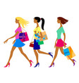 three shopping girls in flat style vector image vector image