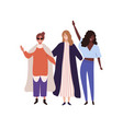 three stylish happy girl raising hands flat vector image vector image