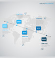 time line info graphic with pointers map in blue vector image vector image