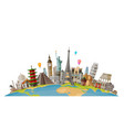 travel journey concept famous monuments world vector image vector image