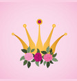 woman day celebration card with roses and crown vector image