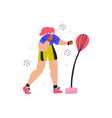 woman with punching bag hand drawn vector image