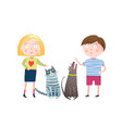 young boy and girl with dog and cat vector image